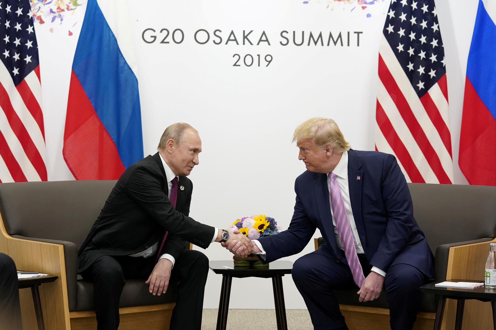 الرئيس الروسي، فلاديمير بوتين، ونظيره الأمريكي، دونالد ترامب (أوساكا، 28 يونيو 2019)