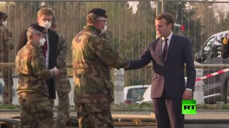 بالفيديو.. ماكرون يزور مستشفى ميداني عسكري للمصابين بكورونا