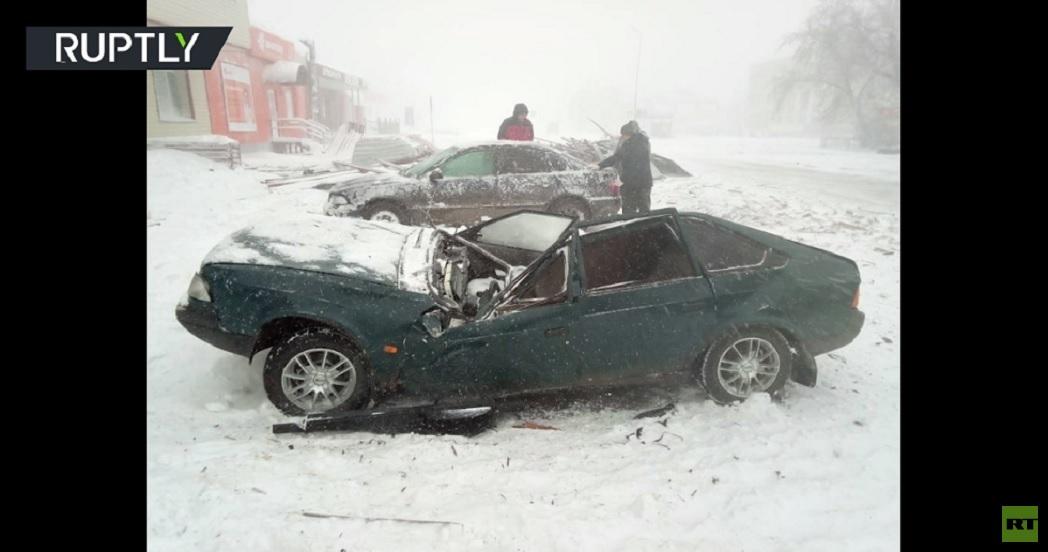 عاصفة ثلجية تضرب كورغان الروسية