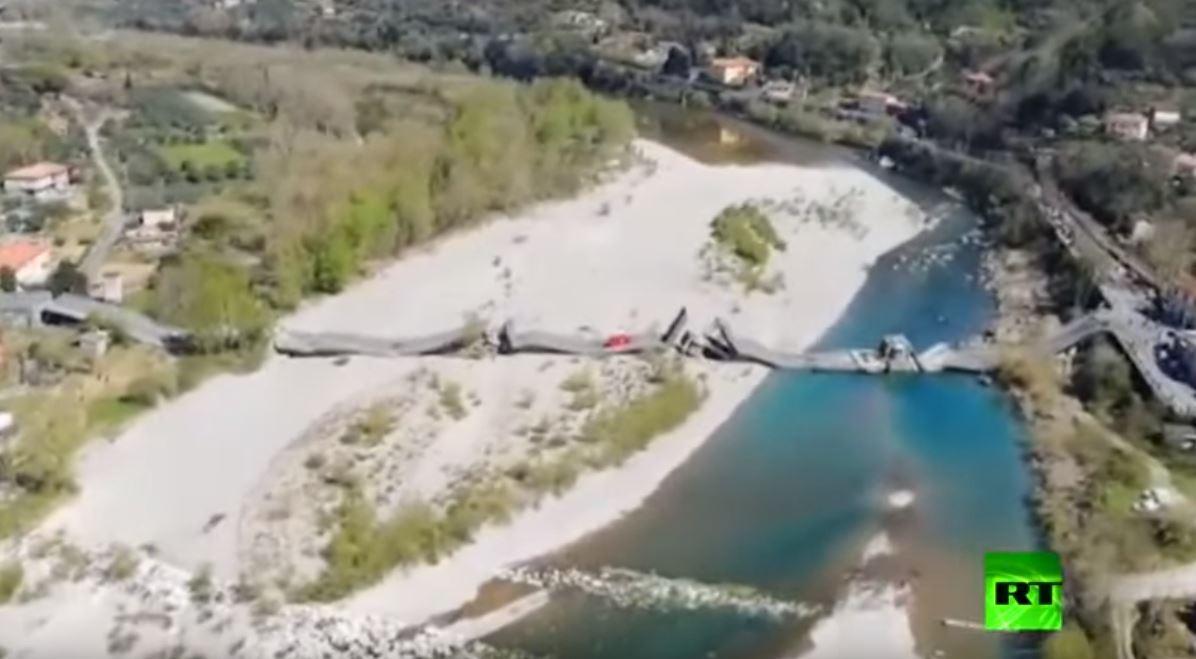 لقطات جوية للجسر المنهار في إيطاليا