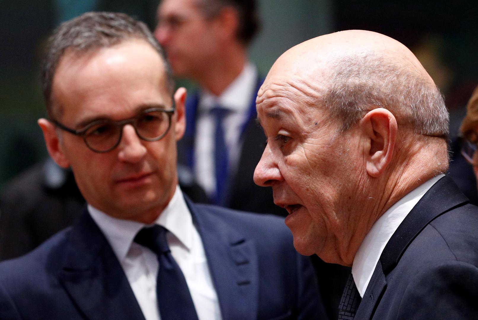 وزيرا الخارجية الفرنسي، جان إيف لودريان، والألماني، هايكو ماس