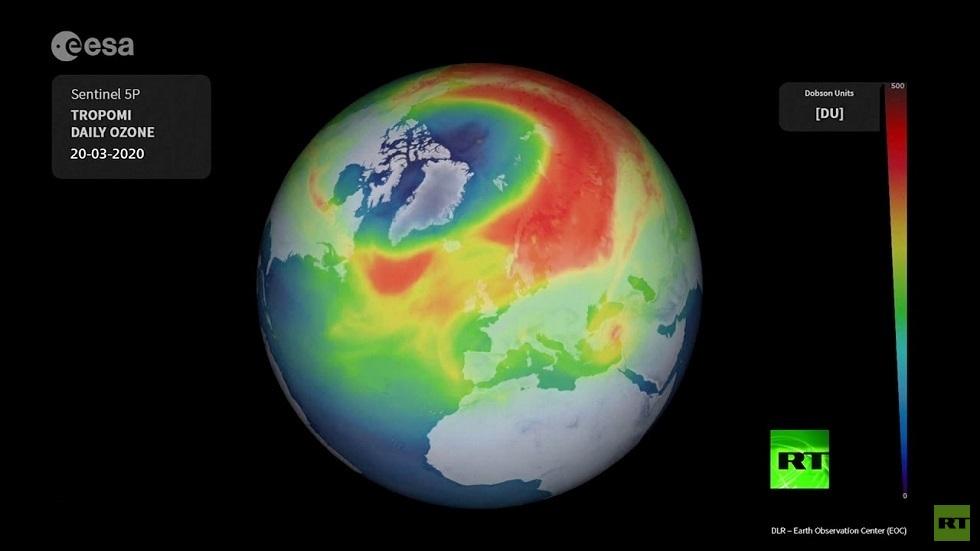 انخفاض مستوى الأوزون فوق القطب الشمالي