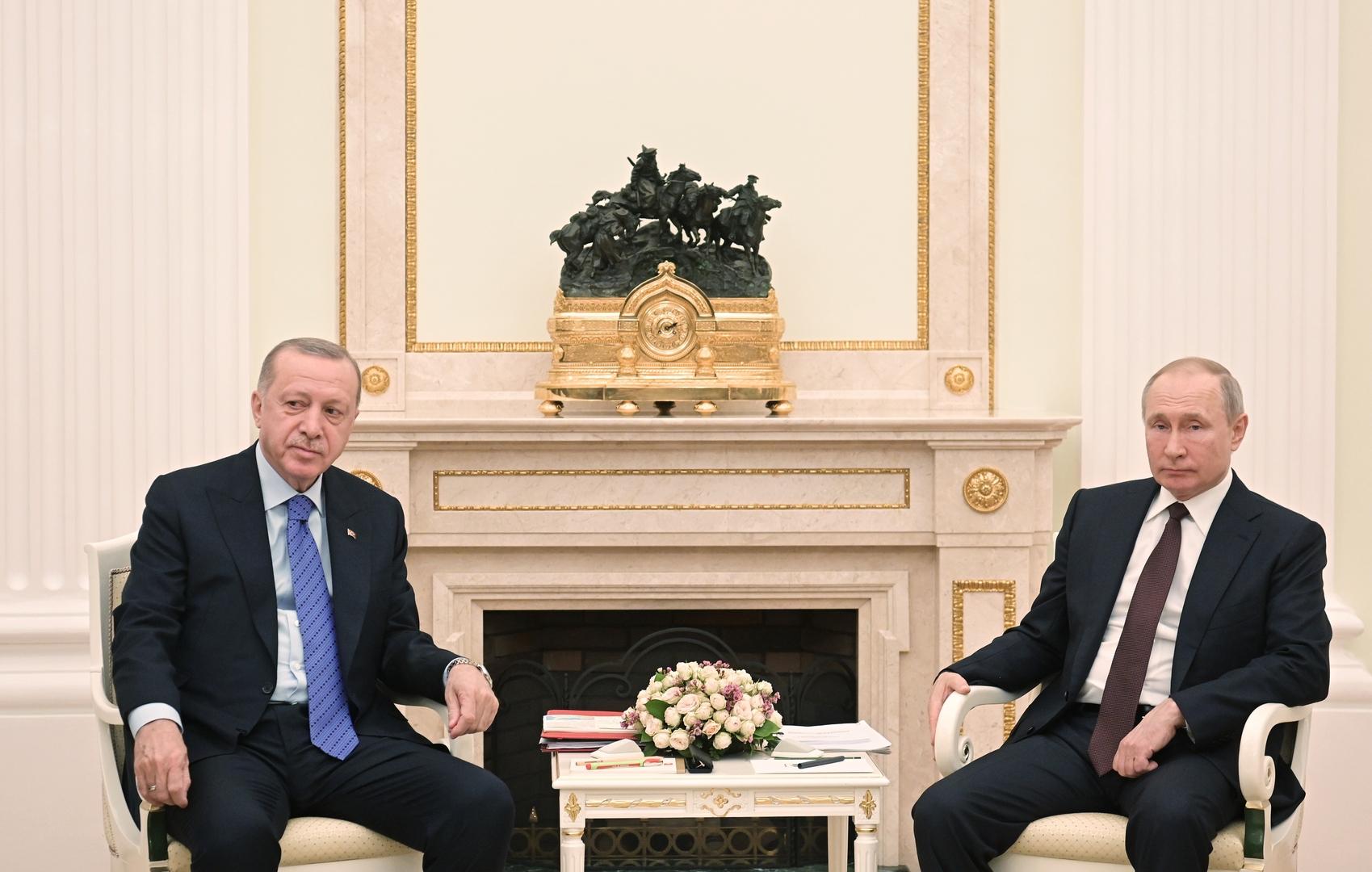 الرئيس الروسي، فلاديمير بوتين، ونظيره التركي، رجب طيب أردوغان.