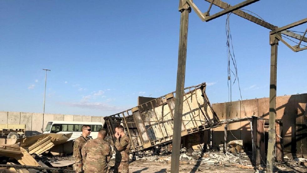 قاعدة عين الأسد الأمريكية في العراق بعد تعرضها لصواريخ إيرانية