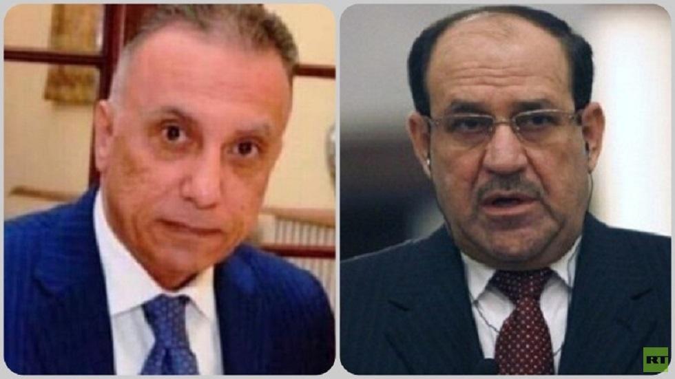زعيم ائتلاف دولة القانون نوري المالكي ورئيس الوزراء المكلف مصطفى الكاظمي