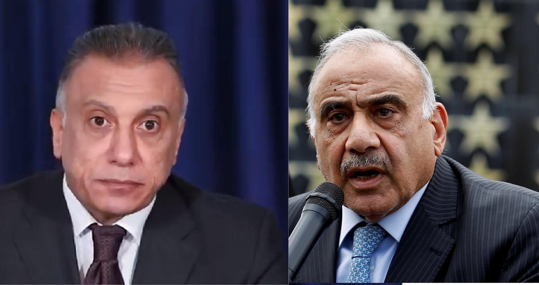رئيس حكومة تصريف الأعمال في العراق عادل عبد المهدي (يمين) ورئيس الحكومة المكلف مصطفى الكاظمي