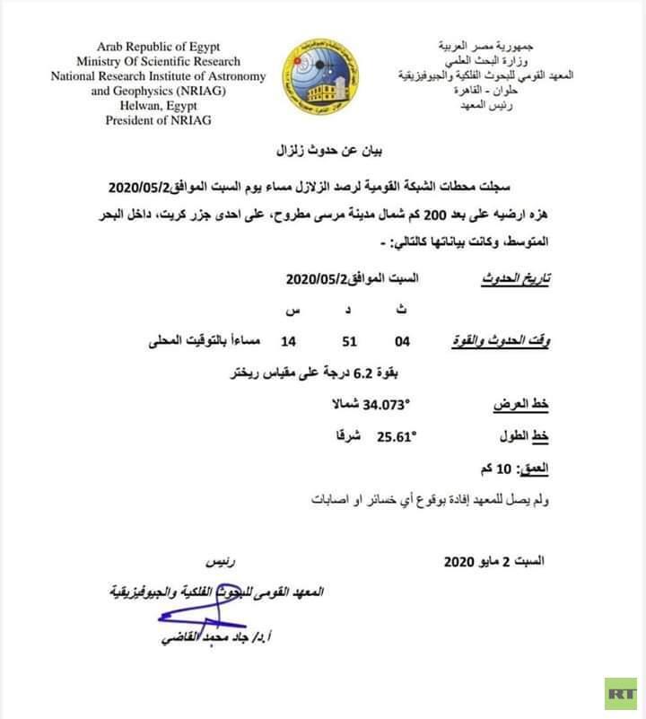 مصر.. هزة أرضية بالبحر المتوسط شمال مدينة مرسى مطروح