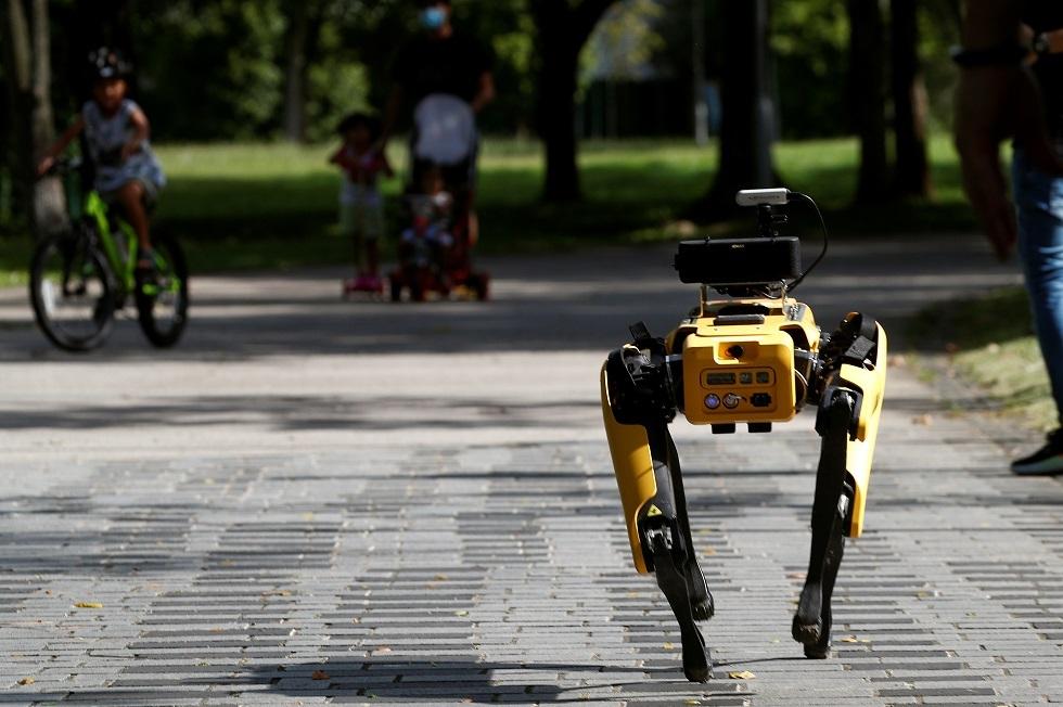 كلب آلي يتجول في متنزهات سنغافورة لحث الناس على التباعد الاجتماعي (صور)