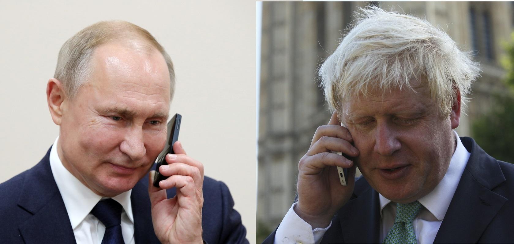 الرئس الروسي، فلاديمير بوتين، ورئيس الوزراء البريطاني، بوريس جونسون