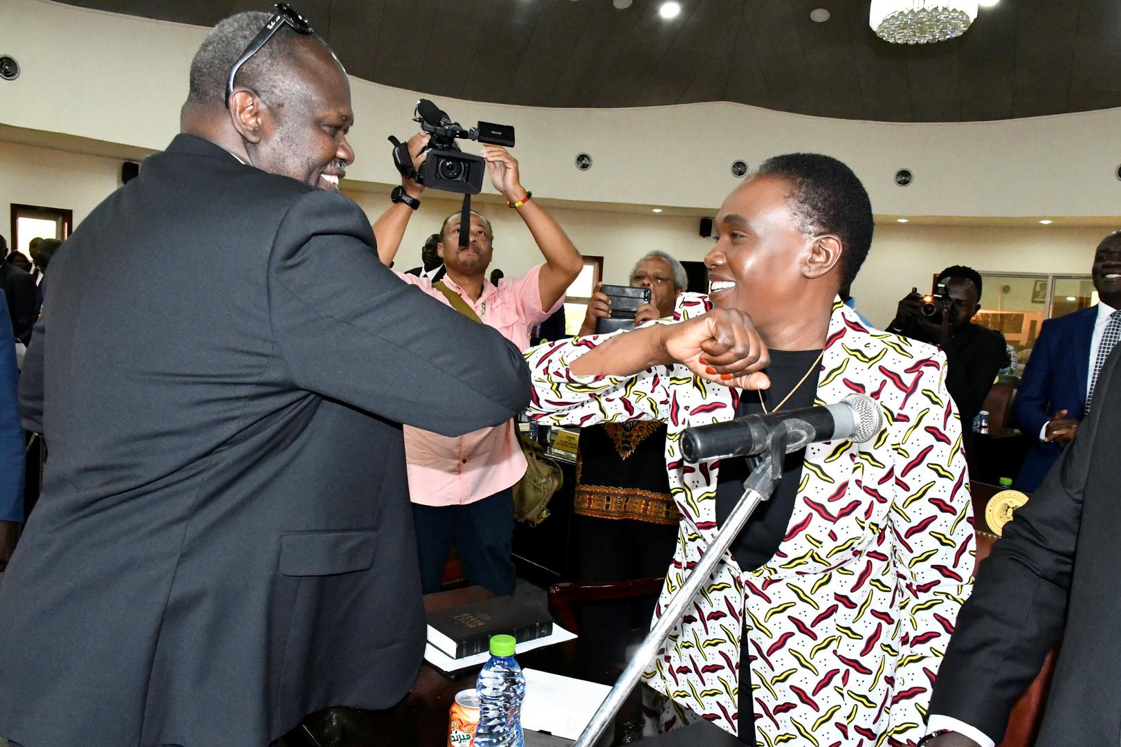 نائب رئيس جنوب السودان رياك مشار مع زوجته أنجيلينا تيني، وزيرة الدفاع