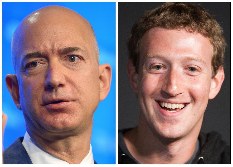 جيف بيزوس مؤسس شركة أمازون ومارك زوكربرغ مؤسس شركة فيسبوك