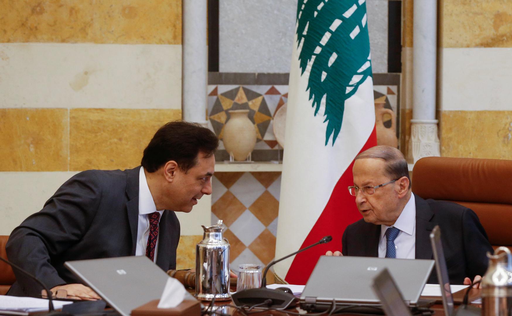 الرئيس اللبناني ميشال عون في جلسة حكومية
