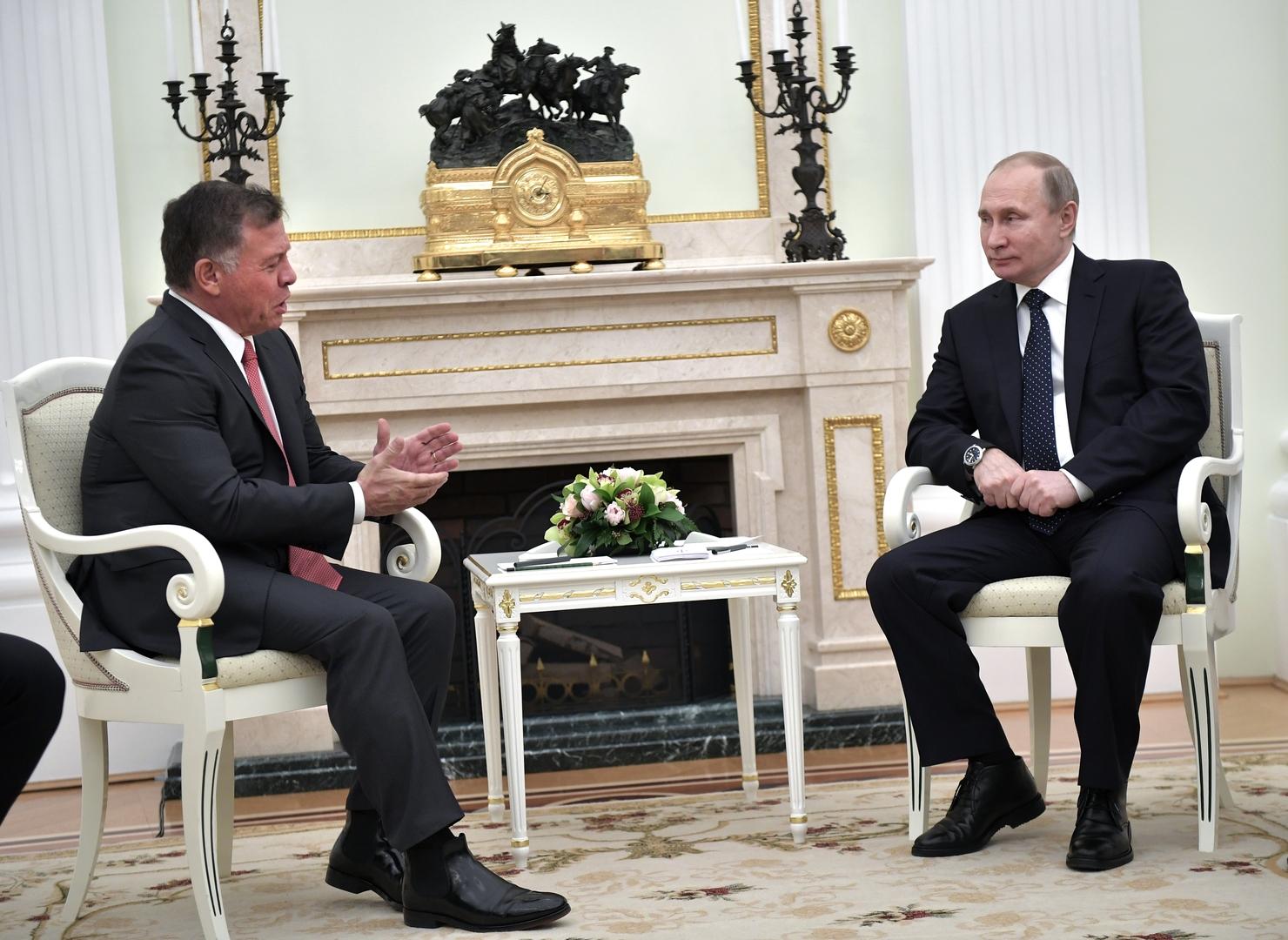 الرئيس الروسي، فلاديمير بوتين، والعاهل الأردني، الملك عبد الله الثاني.