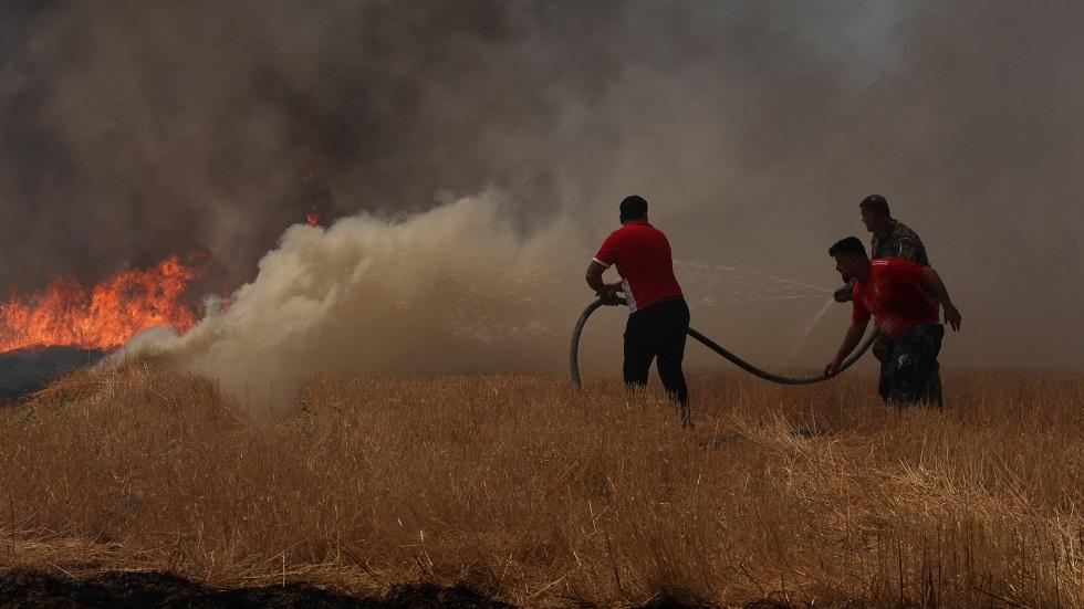 حرائق الحقول في بعشيقة بنينوى شمالي العراق - أرشيف