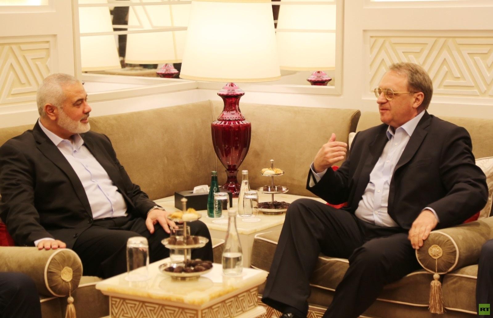 بوغدانوف وهنية يبحثان مخططات الضم الإسرائيلية (صور)