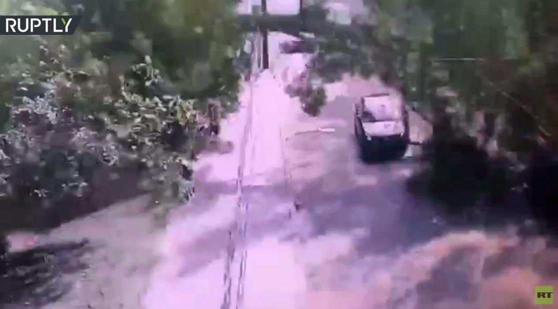 لحظة سقوط شجرة على سيارتين خلال سيرهما في بطرسبورغ