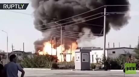 لحظة انفجار بمحطة وقود في مدينة كازاخستانية