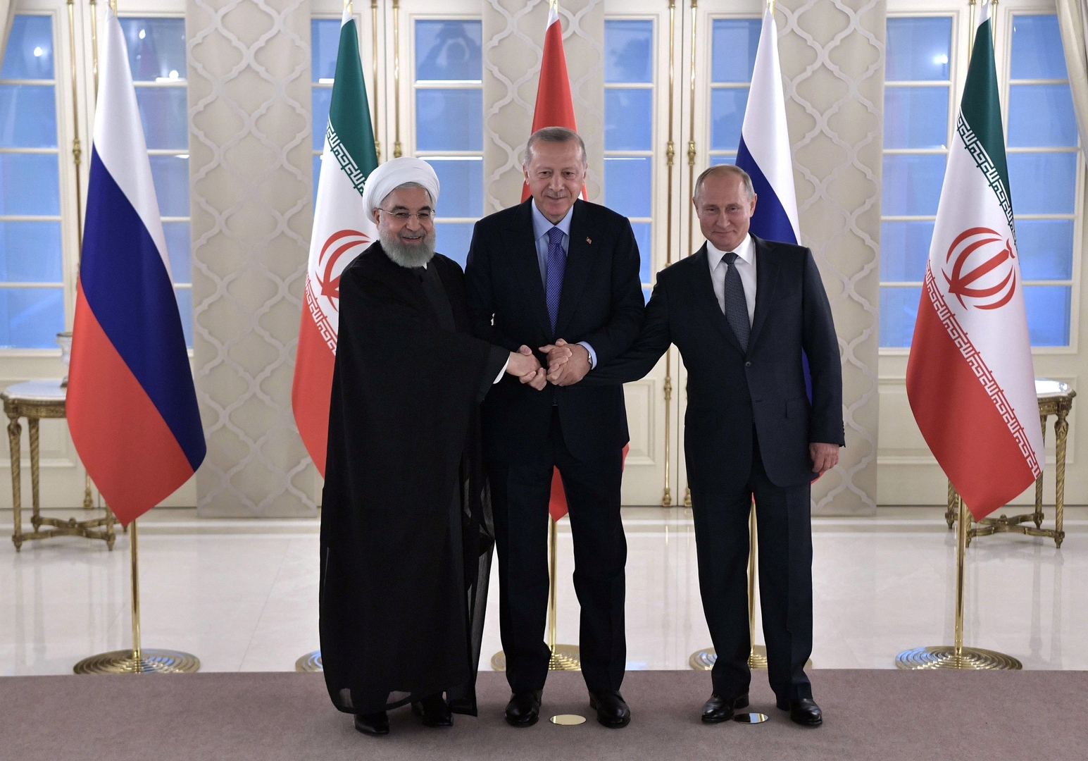بوتين وأردوغان وروحاني: مخططات انفصالية في سوريا مرفوضة وقرار واشنطن بشأن الجولان يهدد أمن المنطقة