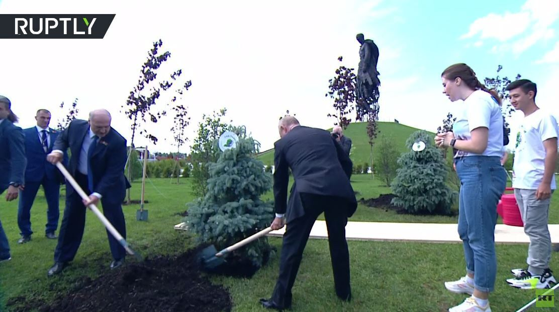 بوتين ولوكاشينكو يغرسان شجرة رمزية عند نصب تذكاري للجندي السوفيتي