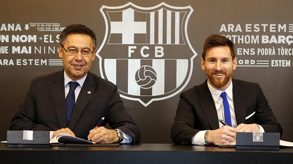 رئيس برشلونة يطمئن جماهير برشلونة بشأن ميسي