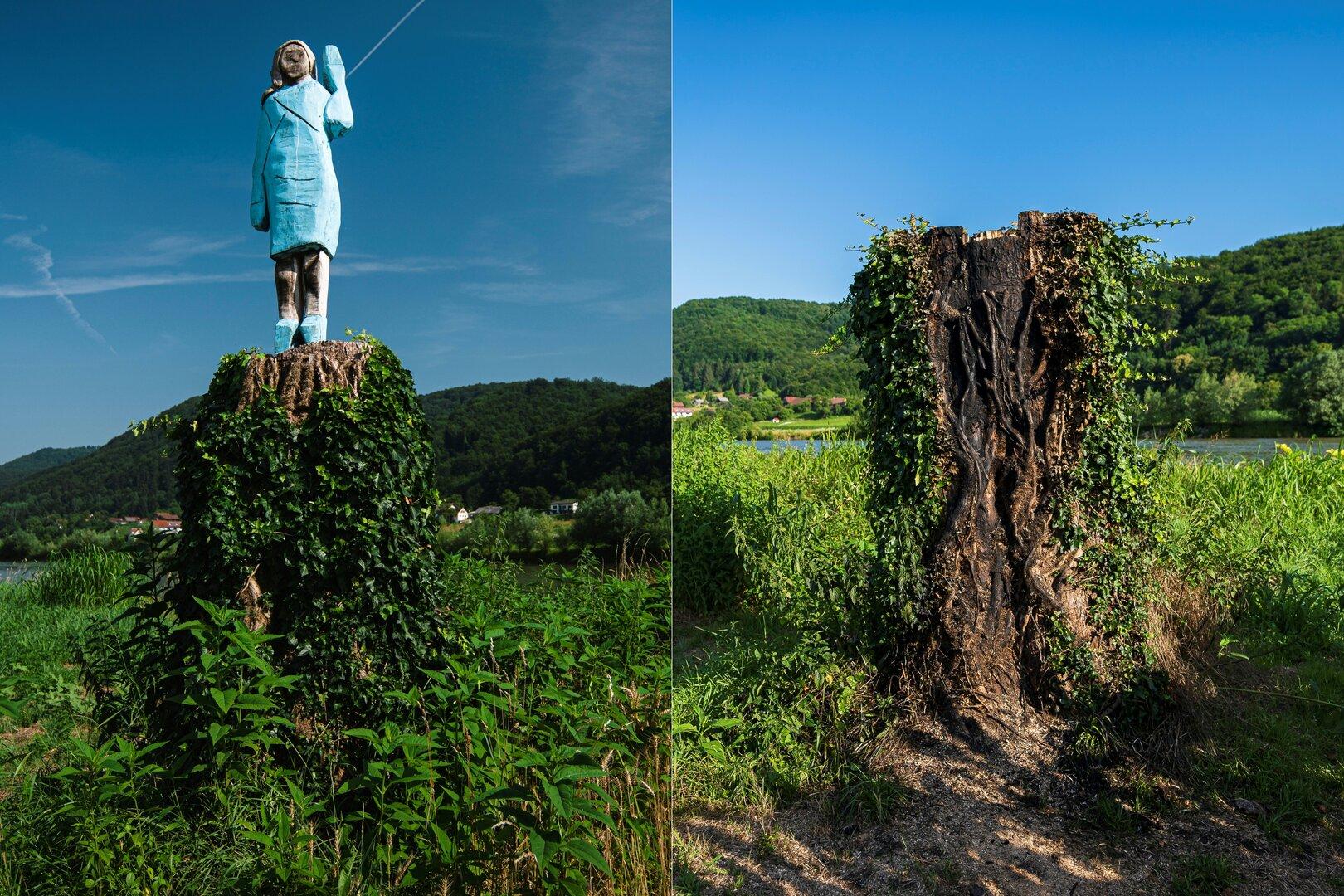التمثال الخشبي لميلانيا ترامب الذي نحته الفنان السلوفيني آليش جوبيفتس
