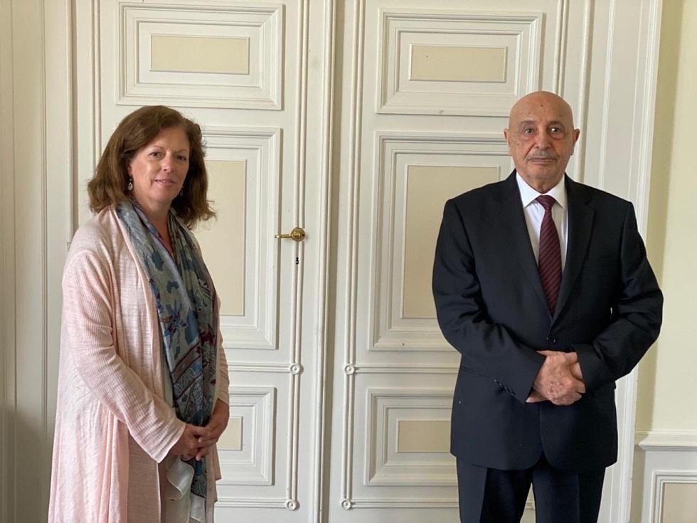 الممثلة الخاصة للأمين العام للأمم المتحدة في ليبيا بالإنابة ستيفاني وليامز، ورئيس مجلس النواب الليبي المستشار عقيلة صالح