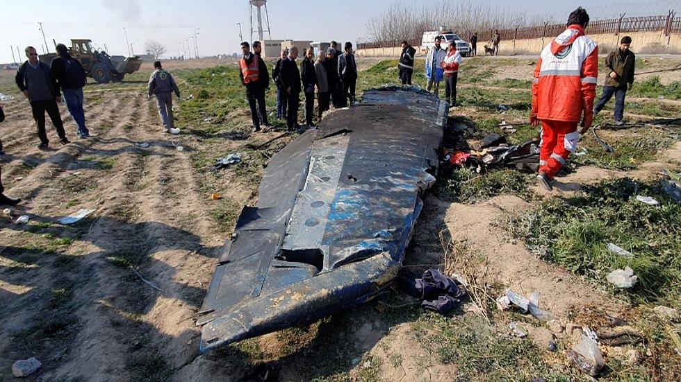بقايا الطائرة الأوكرانية