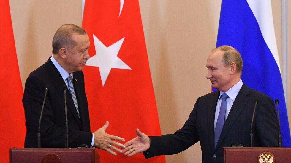 الرئيس الروسي، فلاديمير بوتين، ونظيره التركي، رجب طيب أردوغان (الكرملين، 5 مارس 2020).