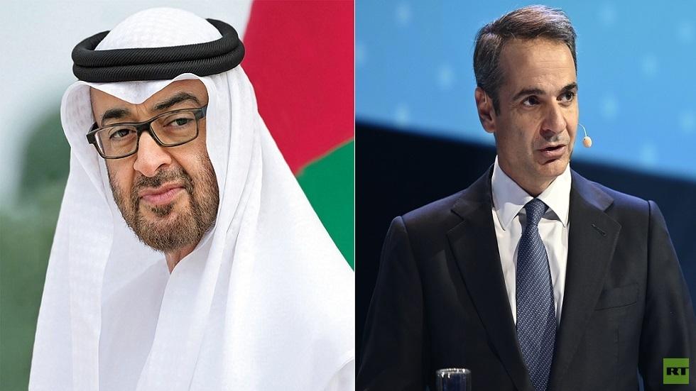 ولي عهد أبوظبي نائب القائد الأعلى للقوات المسلحة في الإمارات محمد بن زايد مع رئيس وزراء اليونان كيرياكوس ميتسوتاكيس