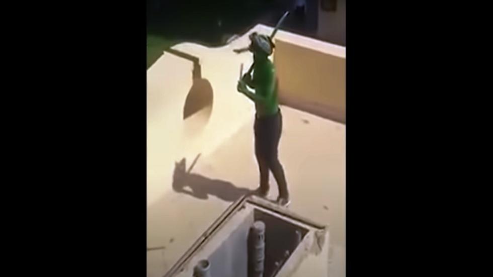 شاهد.. لحظة مقتل الرجل الأخضر في مدينة الإنتاج الإعلامي في مصر