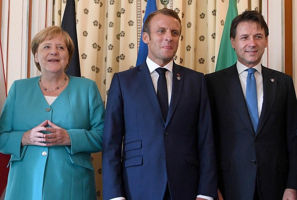 المستشارة الألمانية أنغيلا ميركل ورئيس الوزراء الإيطالي جوزيبي كونتي والرئيس الفرنسي إيمانويل ماكرون