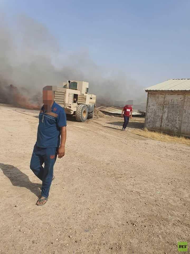 بالصور.. استهداف معسكر عراقي بأربعة صواريخ