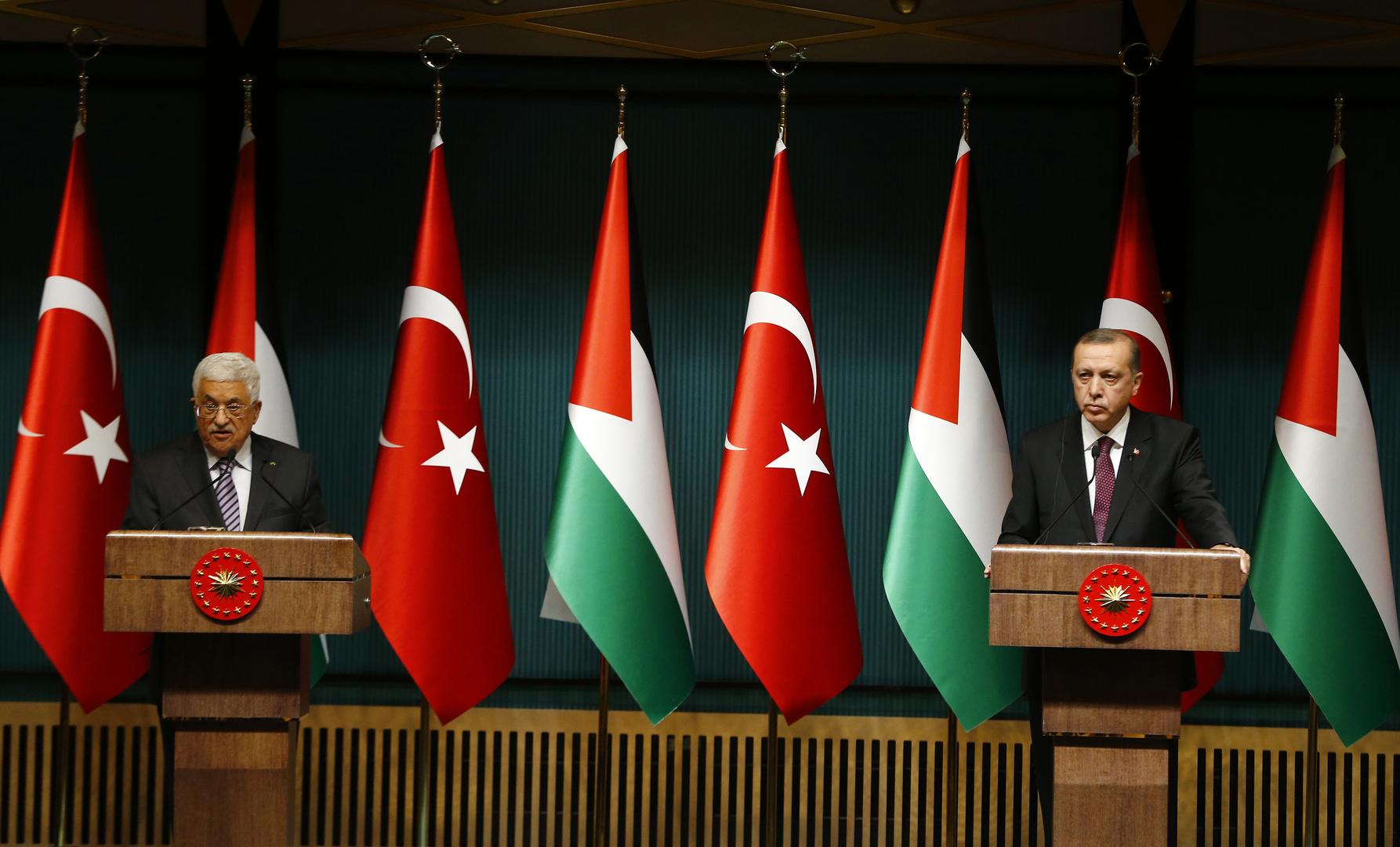 الرئيس التركي، رجب طيب أردوغان، والرئيس الفلسطيني، محمود عباس.