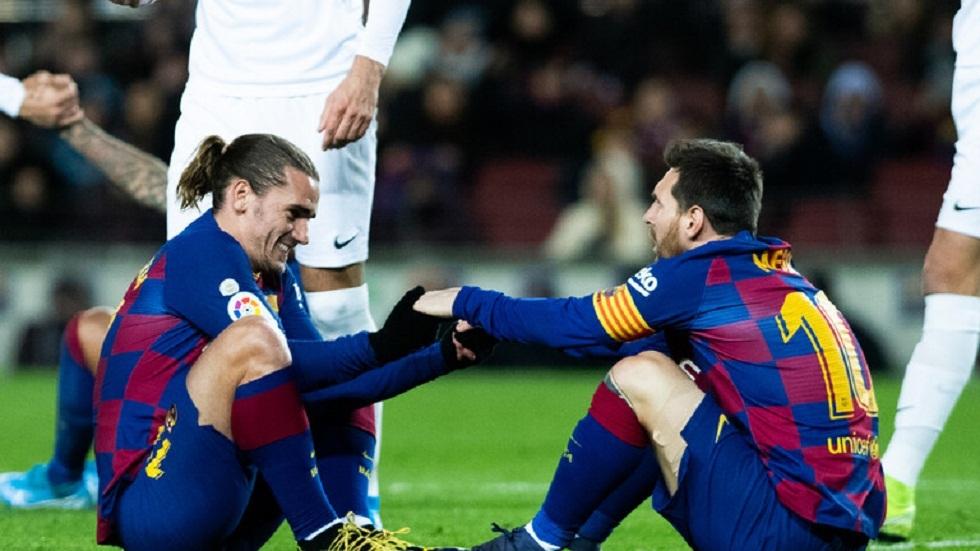 عودة غريزمان ولانغليه وديمبيلي إلى التمارين الفردية مع برشلونة قبل موقعة نابولي في دوري الأبطال