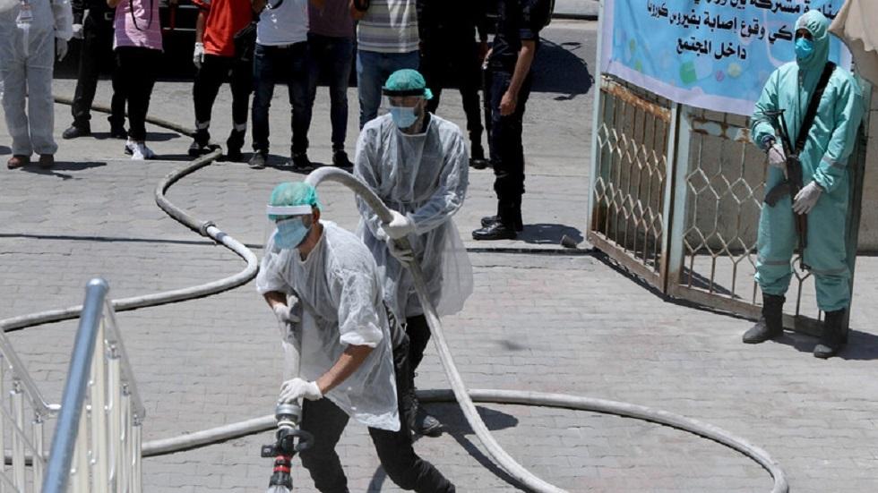 أعمال تعقيم في قطاع غزة بفلسطين - أرشيف