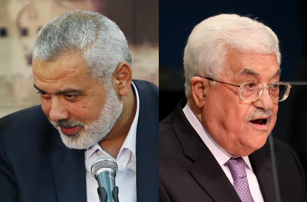 الرئيس الفلسطيني محمود عباس ورئيس المكتب السياسي لحركة حماس إسماعيل هنية