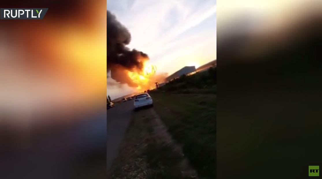 شاهد.. لحظة انفجار بمحطة وقود في إقليم كراسنودار الروسي