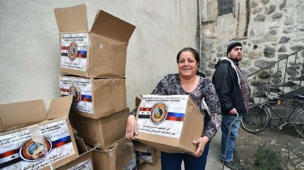 الجيش الروسي يوزع مساعدات غذائية جديدة في سوريا