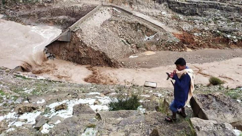 انفجار سد في عمران جراء سيول الامطار الغزيرة