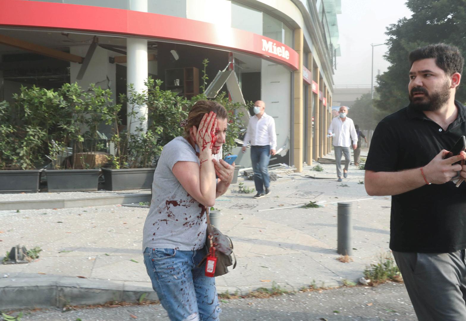 جرحى اثر انفجار بمرفأ بيروت