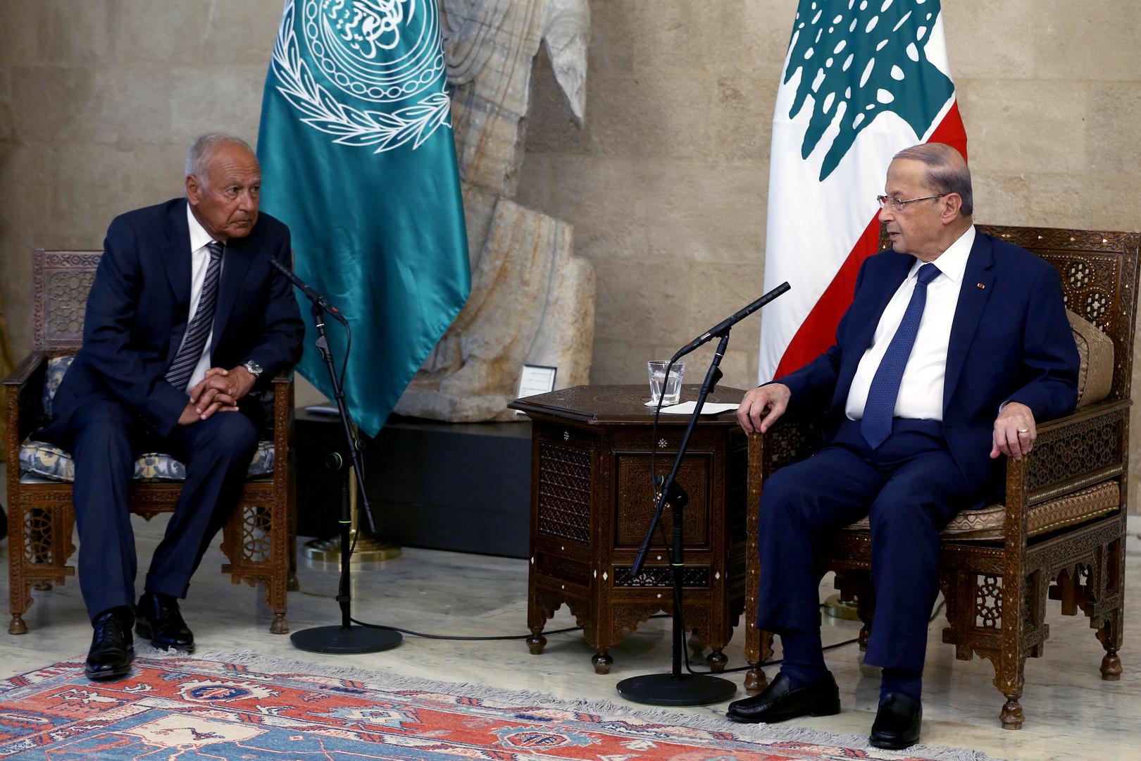 الأمين العام لجامعة الدول العربية، أحمد أبو الغيط، والرئيس اللبناني، ميشال عون