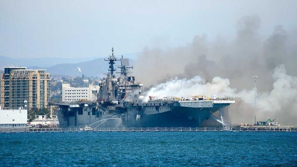 وسائل إعلام: حريق السفينة الحربية الأمريكية الشهر الماضي قد يكون متعمدا
