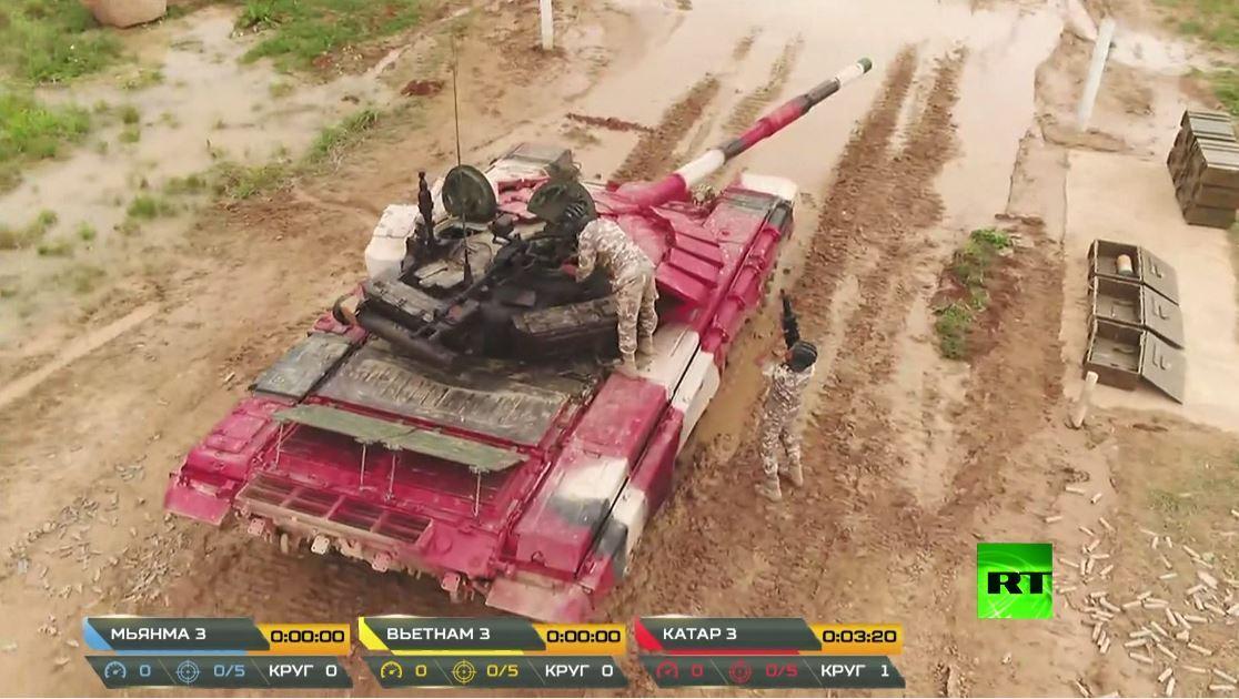 شاهد.. فريق دولة قطر يشارك في مسابقة بياتلون الدبابات في ضواحي موسكو