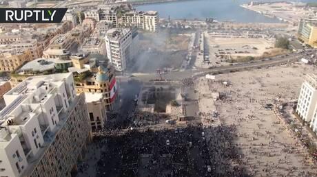 شاهد احتجاجات بيروت أمس من السماء!