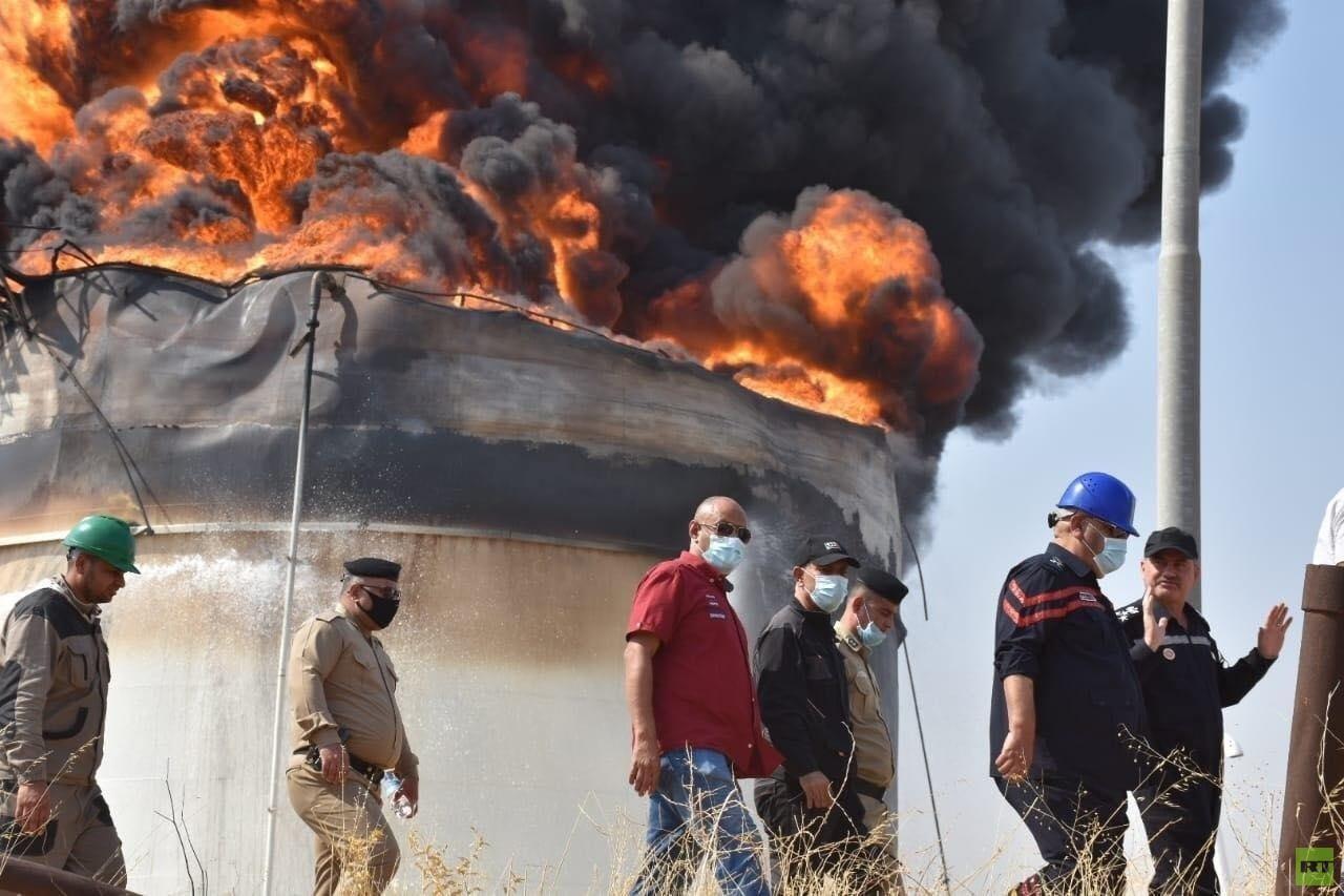السلطات العراقية: حريق خزان النفط نتج عن عاصفة رعدية