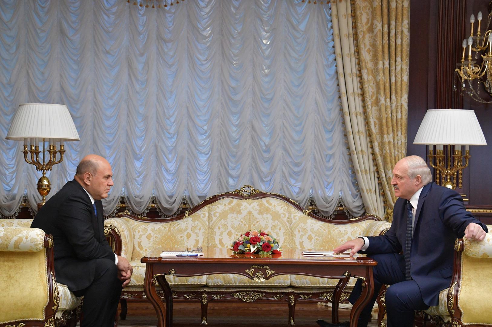 الرئيس البيلاروسي ألكسندر لوكاشينكو يستقبل رئيس الوزراء الروسي ميخائيل ميشوستين في مينسك