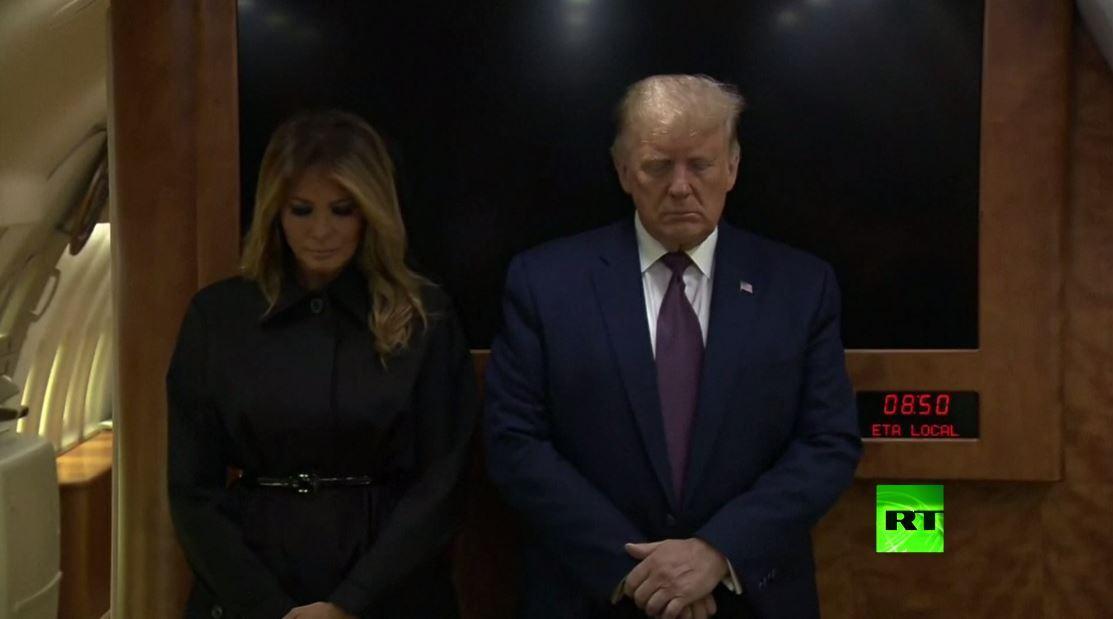 ترامب يحيي ذكرى ضحايا 11 سبتمبر ويقف دقيقة صمت على متن طائرته الرئاسية