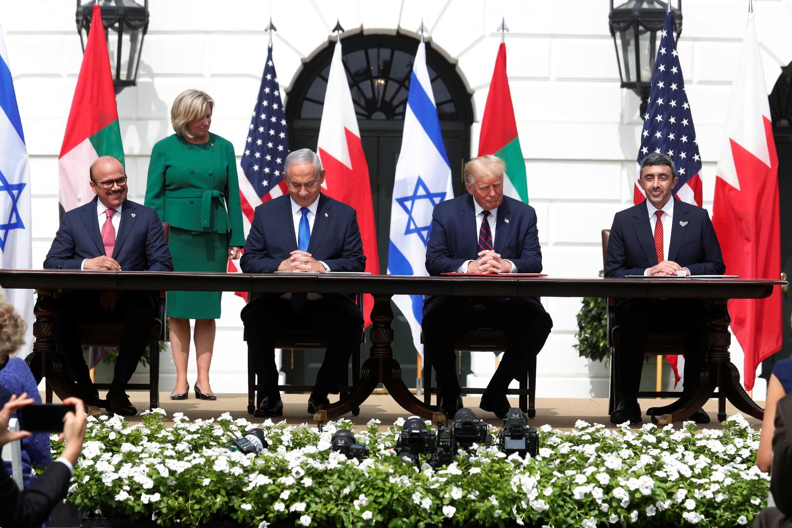 توقيع اتفاق السلام بين إسرائيل وكل من الإمارات والبحرين في البيت الأبيض