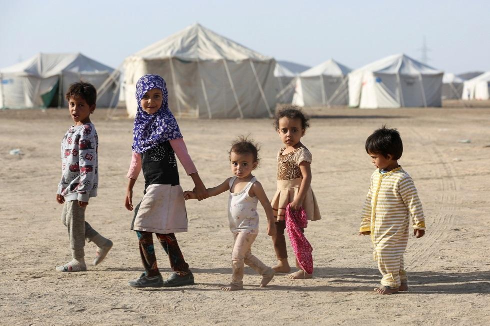أطفال في مخيم بمحافظة الجوف اليمنية