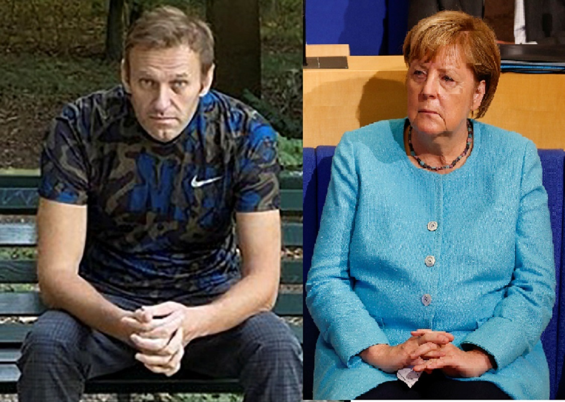 المستشارة الألمانية أنغيلا ميركل والمدون الروسي أليكسي نافالني